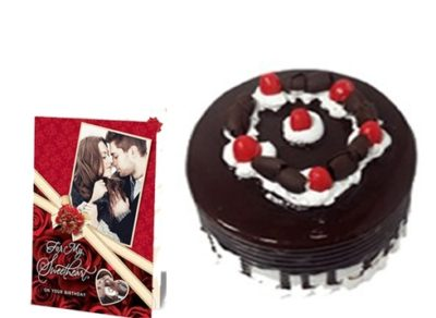 Black Forest Cake with Greeting card-0