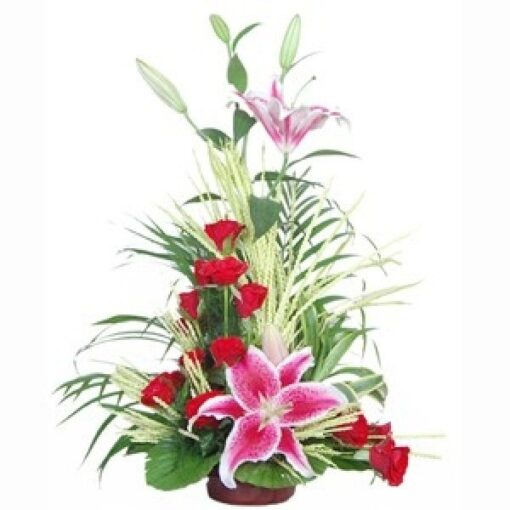 Basket of lily and roses-0