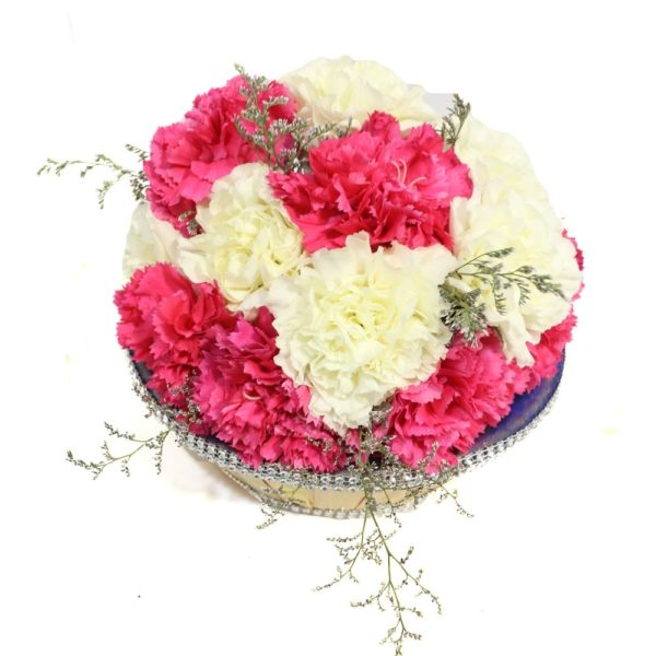 Basket of Pink n White Carnations-0
