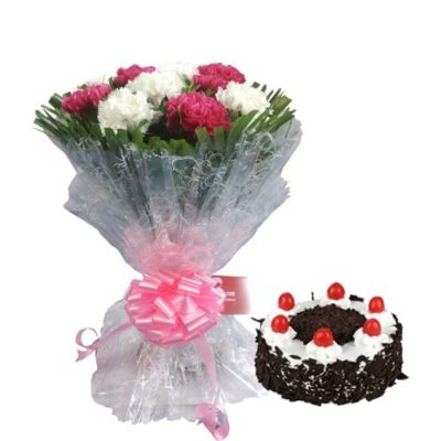 Carnation with Blackforest cake-0