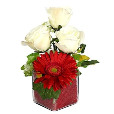 Combination of Rose N Gerbera In A Vase-0