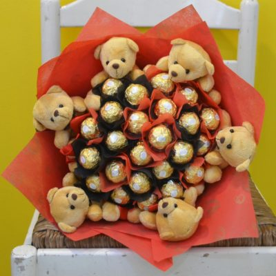 Ferrero rocher Bouquet with Teddy-0