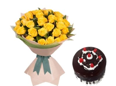 Yellow Flower bouquet with cake-0