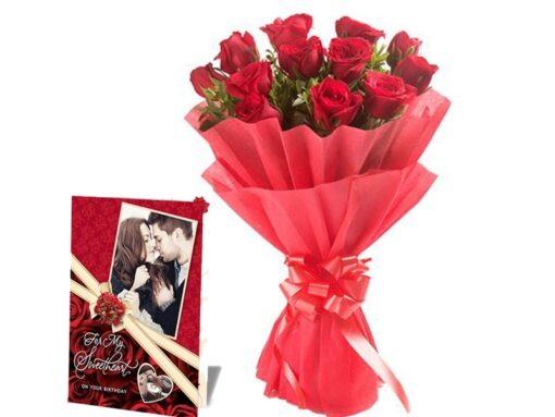 Red Roses with Greeting Card Combo !!-0
