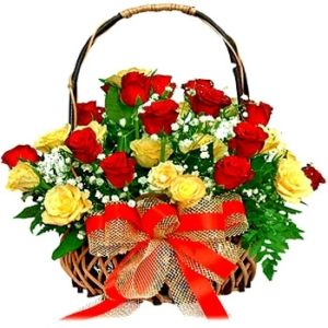 Red Yellow Rose Basket-0