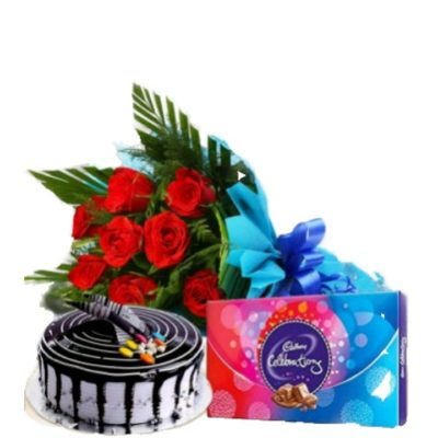 Cake Chocolate Flower Combo-0