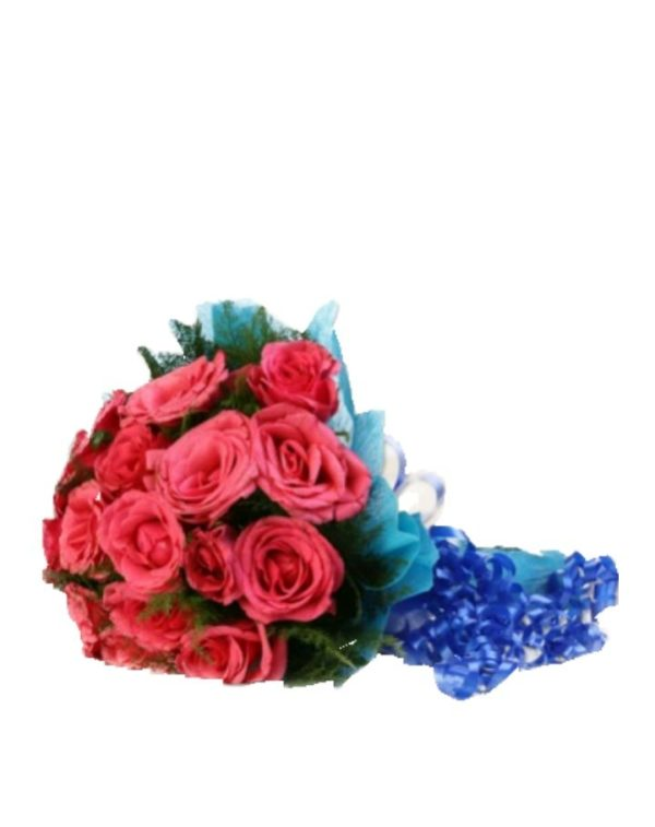Pink in Blue Bouquet-0