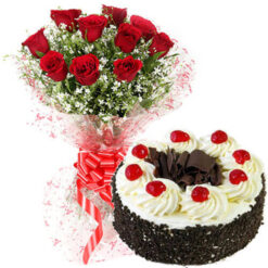 Cake with Red Roses Bunch Combo