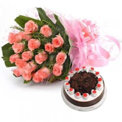 Black Forest with Pink Roses Bouquet-0