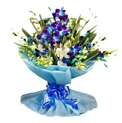 Blue & White Orchids Bouquet-0