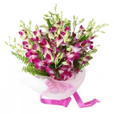 Bouquet of White & Purple Orchids-0