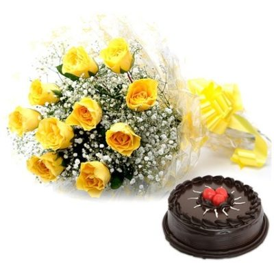 Cake with Yellow Bouquet-0