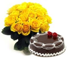 Cake with Yellow Roses Bunch Combo-0