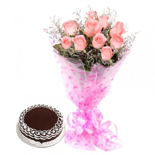 Chocolate Cake with Pink Roses-0