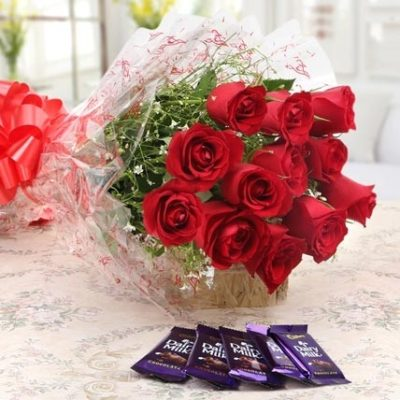 Chocolates with Red Roses Combo-0