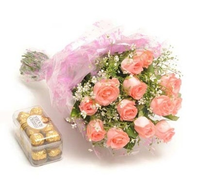 Ferrero Rocher with Pink Roses combo-0