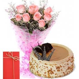 Pink flower and ButterScotch cake Combo-0