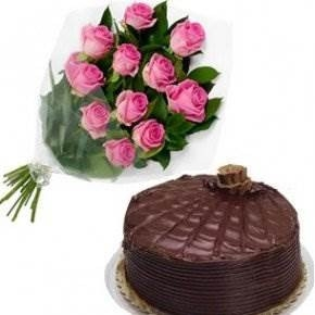 Roses Bunch with Cake-0