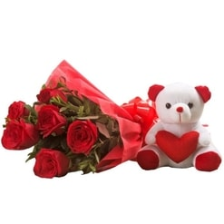 Teddy with Roses Bouquet-0