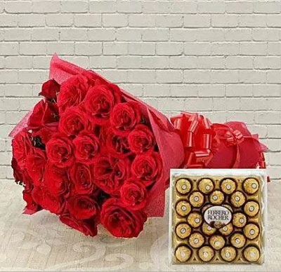 Ferraro Rocher with Red Roses Bouquet