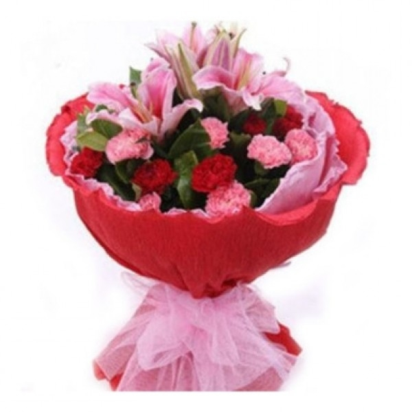 Pink Lilies with Carnations-0