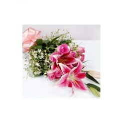 Pink Lilies with Roses Bouquet-0