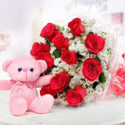 Red Roses with Teddy-0
