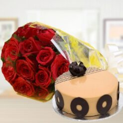 Cappuccino Cake with Roses-0