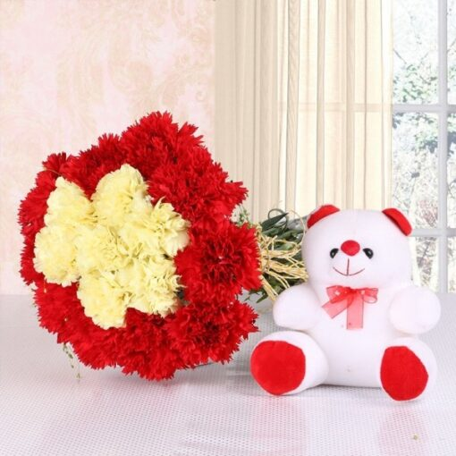 Carnations with Teddy-0