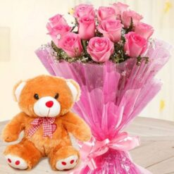 Teddy with Pink Bouquet-0
