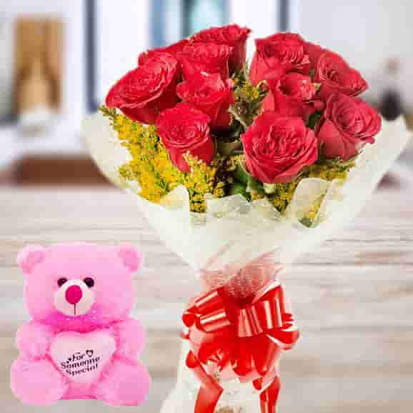 Red Rose & Cute Pink Teddy