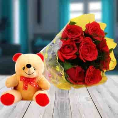 Red Roses & Teddy Combo