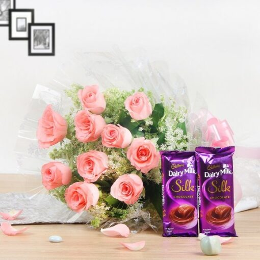 Cadbury Silks with Pink Roses combo-0