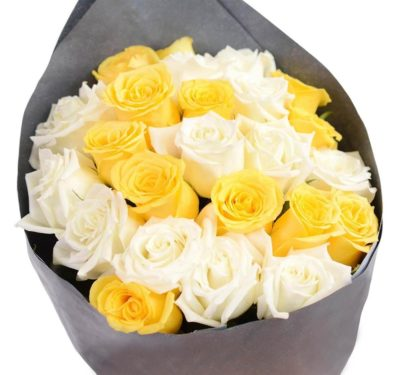 Bunch Of Yellow & White Roses-0