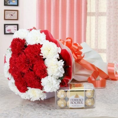Red and White Carnations Bouquet-0