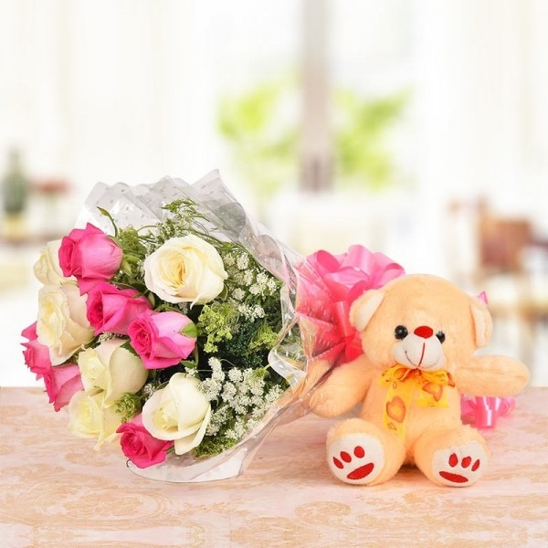 Mix Roses with Teddy-0