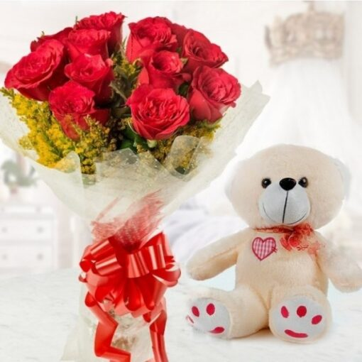 Red Bouquet with Teddy-0