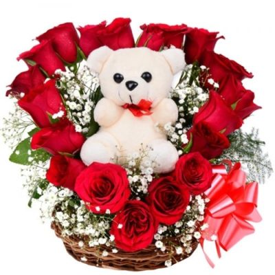 Rosy Basket with Teddy-0