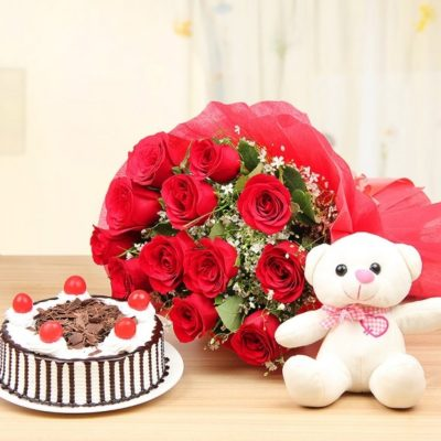 Cherry Pool With Teddy And Roses -0