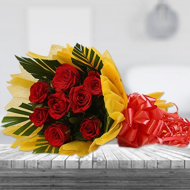 8 Red Roses with Yellow Paper Wrapping-0