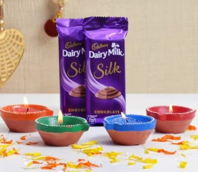 Diyas with Dairy Milk