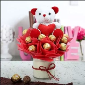 Teddy with Choco Bouquet-0