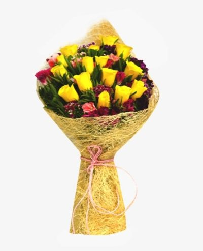 Yellow Roses in Jute-0