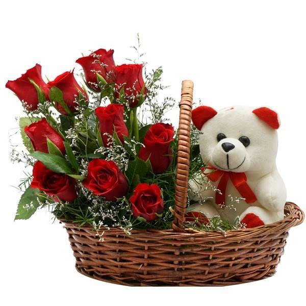 Roses with teddy in Basket-0