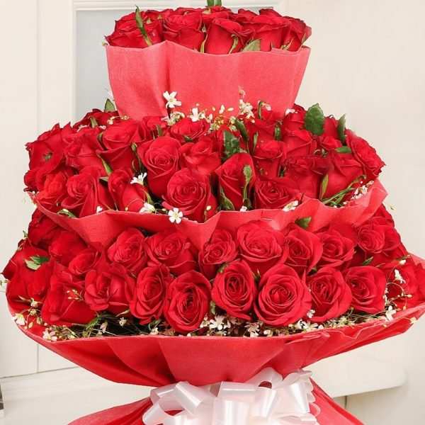 Red Layered Bouquet-0