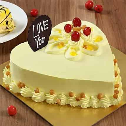 Delicious Butterscotch Heart Cake