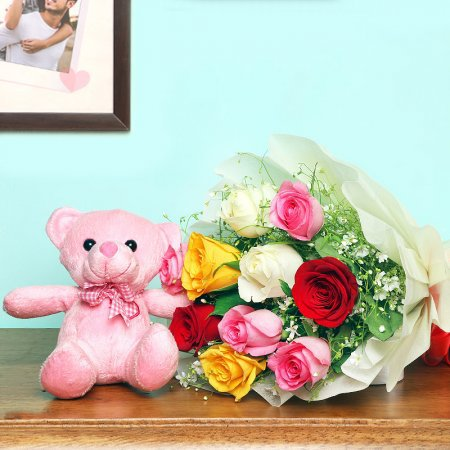 Teddy Mix Roses Combo