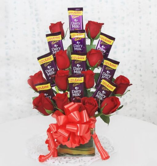 Charming Roses With Chocolates