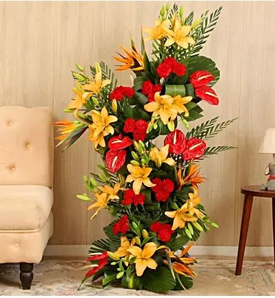 Colourful Lilies & Carnations Arrangement