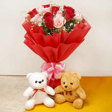 Mix Roses Bouquet With Teddy